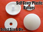 Plastic Self Cover Buttons White Choose From 11mm 15mm 18mm 22mm 29mm 38mm