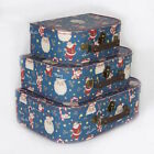 BLUE SANTA FATHER CHRISTMAS  SUITCASES - SET OF 3 -  GIFT STORAGE PRESENT