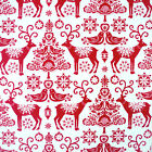 SCANDI REINDEER - RED by MAKOWER 100% COTTON CHRISTMAS FABRIC VINTAGE quilting