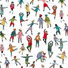 SKATERS ON WHITE - WONDERLAND by MAKOWER 100% COTTON CHRISTMAS FABRIC