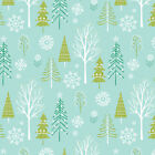 FOREST ON AQUA BLUE WINTER WONDERLAND DASHWOOD 100% COTTON CHRISTMAS FABRIC