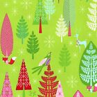 WINTER WOODLAND TREES  on green  MICHAEL MILLER 100% COTTON CHRISTMAS FABRIC