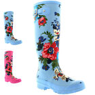 Womens Flower Print Floral Winter Snow Rain Waterproof Wellington Boots UK 3-10