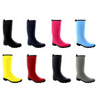 Womens Contrast Sole Tall Rubber Wellington Winter Snow Knee High Boots UK 3-10