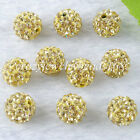 Crystal Rhinestones Pave Clay Round Disco Spacer 10mm Loose Beads Jewelry BA029