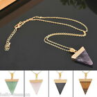 Natural Gemstone Crystal Triangle Pendant Necklace Gold Chain Jewelry