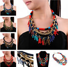 Vintange Classic Multi-Color Rope Gold Chain Resin Bead Pendant Bib Necklace New