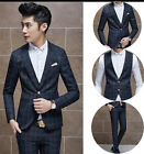 Mens Stylish Plaid Checked 1 Button Slim Work Office Suit Jacket Waistcoat Pants