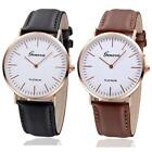 Men Women Leather Analog Stainless Steel Casual Movement Quartz Wrist Watch