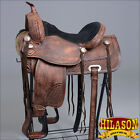 TO106DBRO HILASON TREELESS WESTERN TRAIL BARREL RACING HORSE RIDING SADDLE 16 17