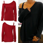 New Women's Loose Long Sleeve Cotton Casual Blouse Shirt Tops Fashion Blouse UK