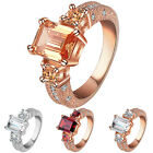 Women's Zircon Statement Ring 9K Gold Plated Alloy Band Wedding Jewelry Funky