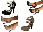 Black Taupe Platform Criss Cross Ankle Strap Stilettos Heels Pumps Shoes