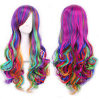 HOT ! Rainbow Multi-color Long Wavy Curly Party Fashion Cosplay Anime Hair Wig