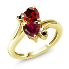 1.90 Ct Red Created Ruby Red Garnet 18K Yellow Gold Plated Silver Ring