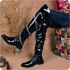 Mens Punk Over the Knee Boots patent leather Chain Rivets Army Riding show Boots