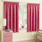 Moonlight Moon & Stars Pink Silver Thermal Blockout Childrens Kids Curtains Pair