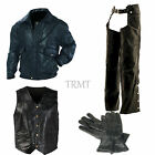 Mens Antithetic Leather Motorcycle  Bomber Flight Jacket Chaps Gloves & Vest