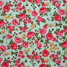CHERIE ROSE - PINK ON AQUA BLUE - COTTON FABRIC 160cm OEKO-TEX floral roses