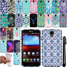 For LG Volt F90 LS740 TPU PATTERN SILICONE Rubber GEL Soft Case Phone Cover +Pen