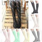 Womens Girls Button Cotton Knit Thigh High Socks Hosiery Stockings Over The Knee