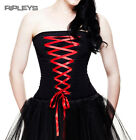 HELL BUNNY Gothic Fashion Corset Top SAM Lace Up Ribbon Red All Sizes
