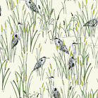 HERON IVORY WHITE BIRDS - WILDLIFE - MAKOWER INPRINT 100% COTTON FABRIC