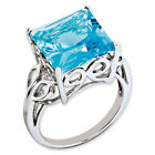 New .925 Fine Sterling Silver Emerald Shaped Blue Topaz Ring - Choose Size