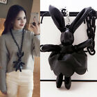 Fashion Baroque Style Bunny Long Necklace Faux Leather Zipper Chain Rabbit