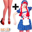 Cute Rag Doll + Tights Ladies Fancy Dress Dolly Womens Book Adults Costume New