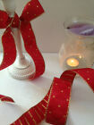 FESTIVE HARLEQUIN DIAMOND Red & Gold Christmas - Luxury Wire Edged Ribbon NEW!!