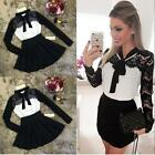 Womens Sweet Autumn Winter Lace Long Sleeve Pleated Waisted Dress Bowknot US