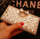 Bling Crystal Diamonds Rhinestone PU leather wallet flip stand Case cover skin n