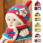 BD 1Set New Baby Winter Warm Earflap Hats Kids Wraps Knitted Scarf