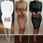 Womens Long Sleeve Bandage Bodycon Pencil Evening Cocktail Party Club Mid Dress