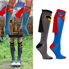 Womens Mens Unisex football Super Hero Superman Batman Knee High Socks Cape