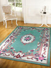 Traditional Aubusson Design Light Green Vintage Style Wool Rug Floral Circle Mat