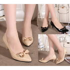 NEW HOT Pointed Toe Slim Kitten Mid Heels Pumps Bowknot Solid Office Lady Shoes
