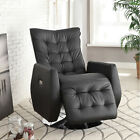 NEW CALIDA BLACK or WHITE TUFTED BYCAST LEATHER POWER RECLINER SWIVEL CHAIR