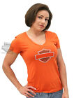 Harley-Davidson Ladies Orange Bling B&S V-Neck. Orange Short Sleeve T-Shirt