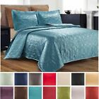 3 Piece Silky Satin Quilted Bedspread Coverlet Set King Queen Size LOOK + Colors image
