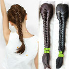 Cute Weave Straight Hair Extension Braided Ponytail Clip In Drawstring Hairpiece