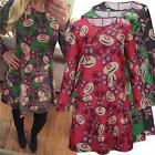 1PC WOMENS LONG SLEEVES REINDEER PARTY CHRISTMAS SWING XMAS SLIM TOPS DRESS LA