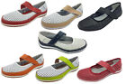 Ladies Leather Shoes Wild Sole Dolly Leather Velcro Mary Jane Style Size 6-10