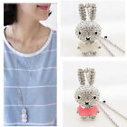 Pop New Women Crystal Rhinestone Rabbit Pendant Necklace Sweater Long Chain