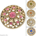 BD  1PC Hollowed Gold Tone Snap Buttons Flower Crystal Antique For Bracelet DIY
