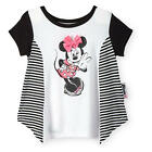 Disney Baby Girls Black/White Short Sleeve Colorblock Sharkbite Top with Minnie