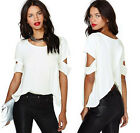Women Fashion Blouse Sexy Ladys Short Sleeves O Neck Casual White Tops T Shirt