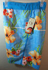 NWT- OP OCEAN PACIFIC mens HAWAIIAN BLUE HIBISCUS Print BOARD SHORTS -Small