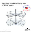 "26""-32"" 2-Shelf Kidney Shaped Chrome Nickel Wire Lazy Susan Kitchen Cabinet Orga"